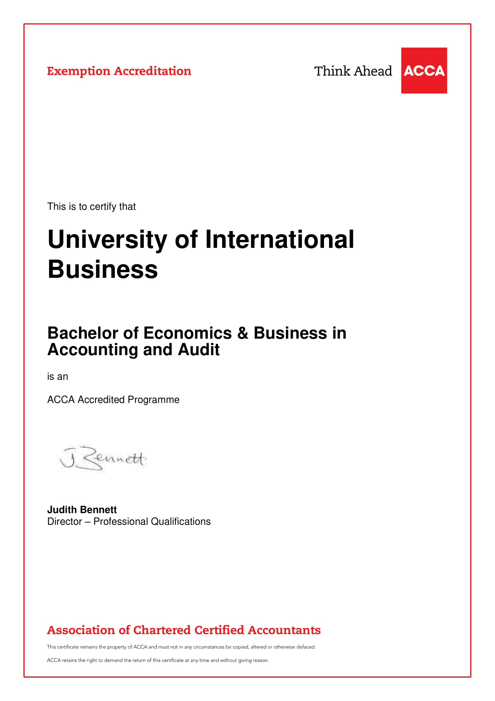 Bachelor of Econ & Bus in Accounting & Audit - Exemptions Certificate-1